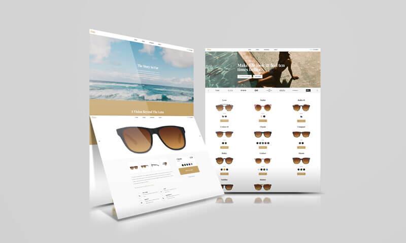 Dobrze zaprojektowany iopracowany sklep zmarkowymi okularami 'Tenslife'